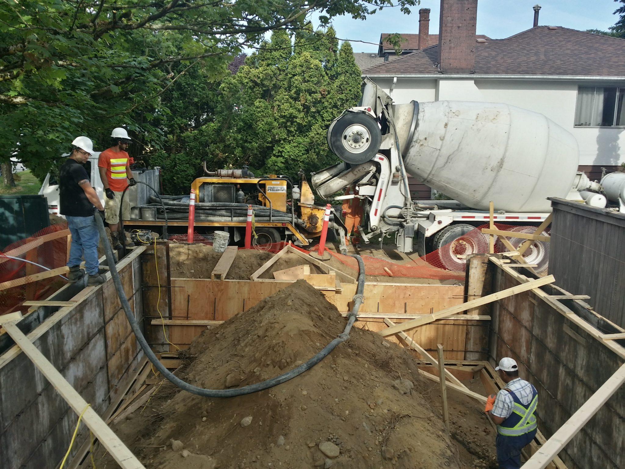 Construction Renovation concrete placing Vancouver